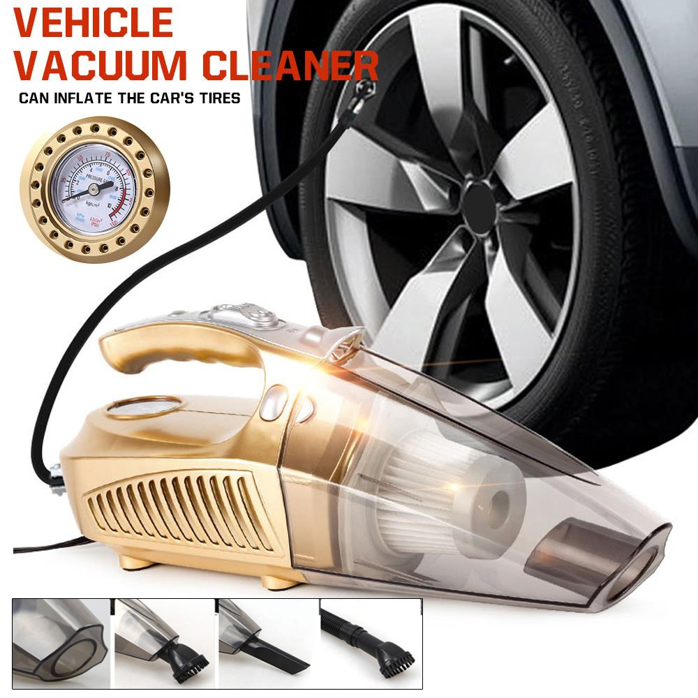 Vehemo DC12V Gold Lightweight Multifunctional Car Vacuum Cleaner Vehicles Accessories Handheld Vacuums Cleaning Portable Auto