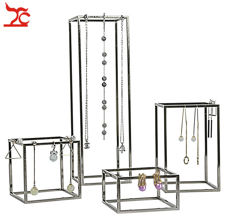 4Pcs/Lot Stainless Steel Jewelry Display Holder Store Window Domestic Necklace Chain Earring Jewelry Organizer Holder Stand Rack