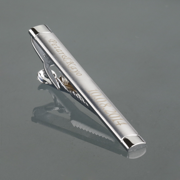 Personalized Custom Silver Tie Clip Box Engraved Name Bar Pin Wedding Favor Neck Clamp