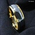 8 мм Золотой Купол Mens Tungsten Обручальное Кольцо Свадебные Украшения Размер 6-13 Бесплатная Доставка