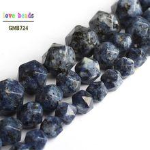 Granito Natural Facetada Azul Rodada Pedra Solta Beads para Fazer Jóias DIY Pulseira de 15 polegadas Fio 8 6mm mm 10mm
