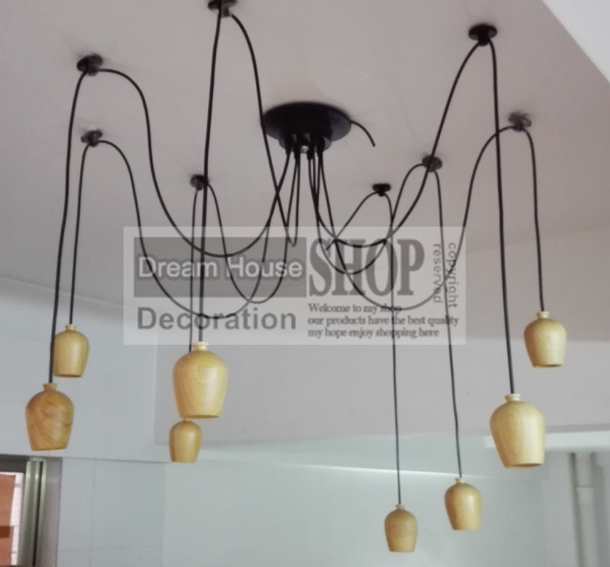 Free shipping to USA 6-8-10-12-14arm Oak Wood edison chandelier E27/E26 socket wood lampholder Hanging light fixture.No bulb manitobah унты half mukluk женск 6 oak бежевый