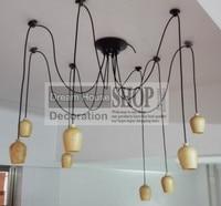 Free shipping to USA 6 8 10 12 14arm Wood edison chandelier E27/E26 socket wood lampholder Hanging light fixture.No bulb