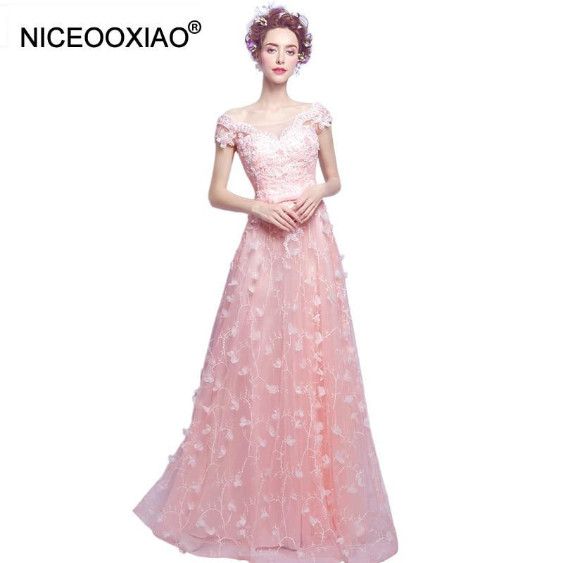 NICEOOXIAO2017 señora Flor Rosa Largo Vestido de Fiesta Noche de Las Mujeres de Manga Corta A line Del banquete de Boda Vestidos de Baile de Primera ...
