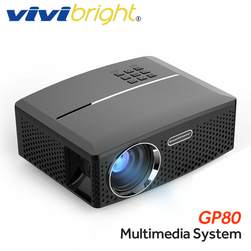 VIVIBRIGHT projecteur led GP80/UP. 1800 Lumens. (En option Android 6.0.1, WIFI, Bluetooth Simple Beamer) Soutien Full HD, 1080 P