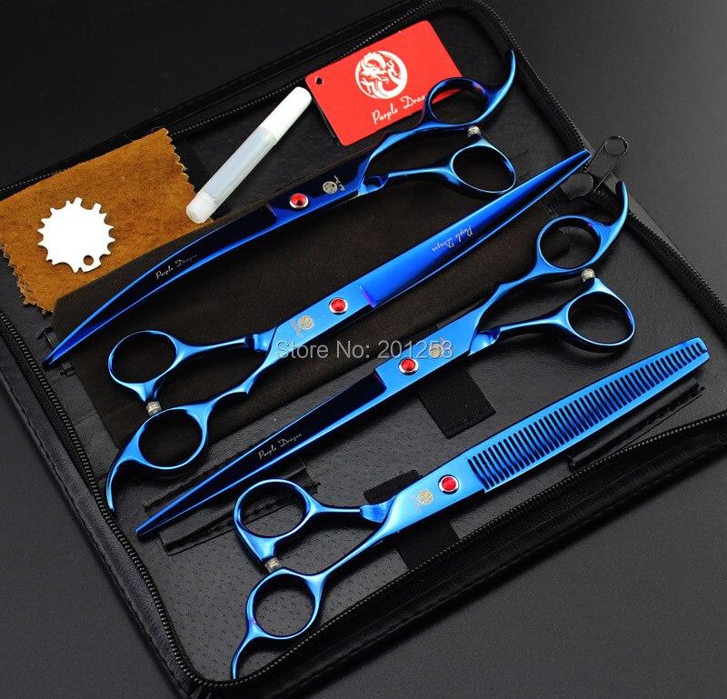 New 8.0Inch 4Pcs/Set JP440C Professional Pet Grooming Scissors Blue Pet Shears Big Straight &Thinning&Curved Scissors LZS0496 hot new nc4d jp dc5v nc4d jp dc5v nc4d jp dc5v nc4d dc5v 5vdc 5v dip14