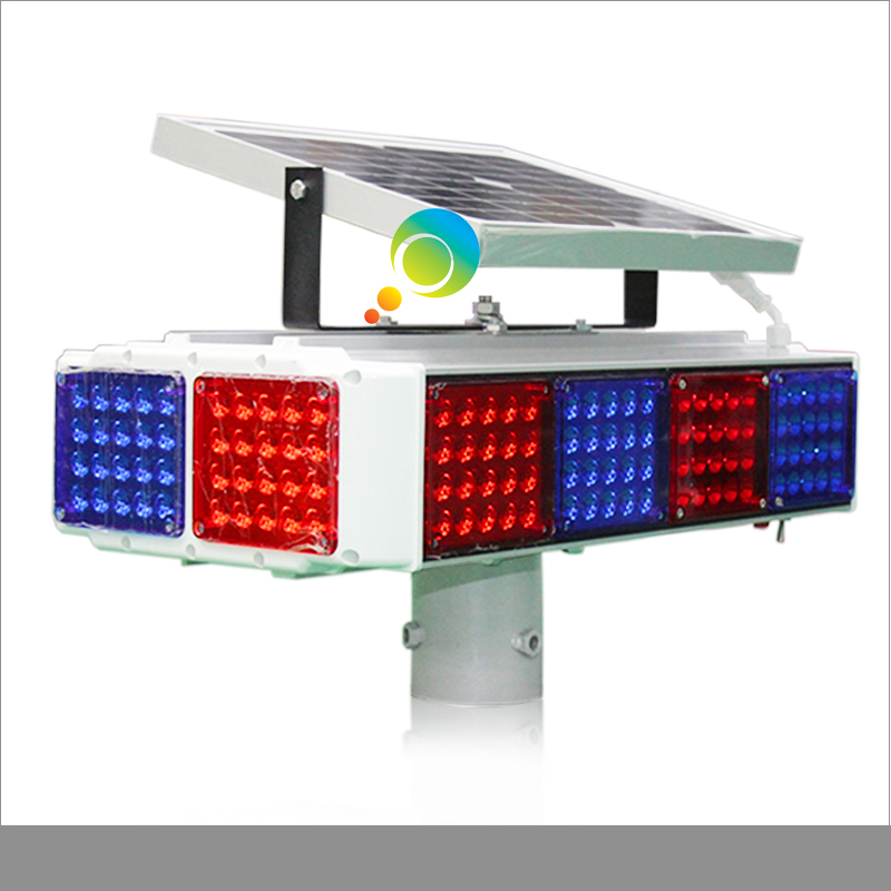 New arrival 12pcs red blue flashing module aluminum solar warning traffic light