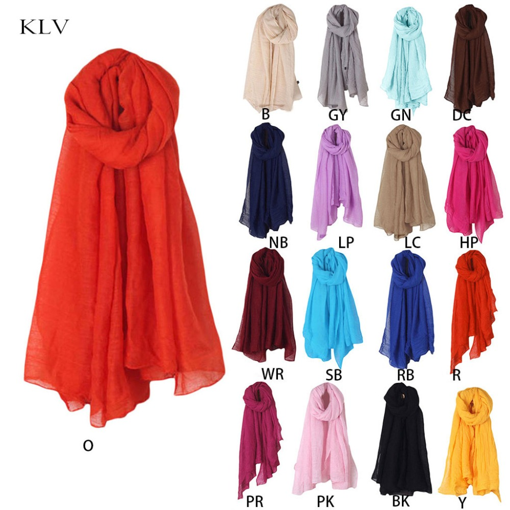 2020 Fashion New 16 Colors Women Long Scarf Wrap Scarves Vintage Cotton Linen Large Shawl Hijab Elegant Solid Black Red Whi