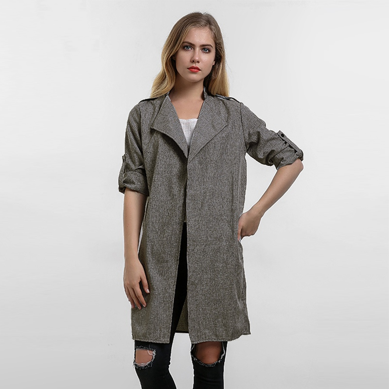 2018 Autumn Women Coats Fashion Solid Outerwear Casual Lapel Windbreaker Cape Coats European Linen Cardigan Jacket Plus Size