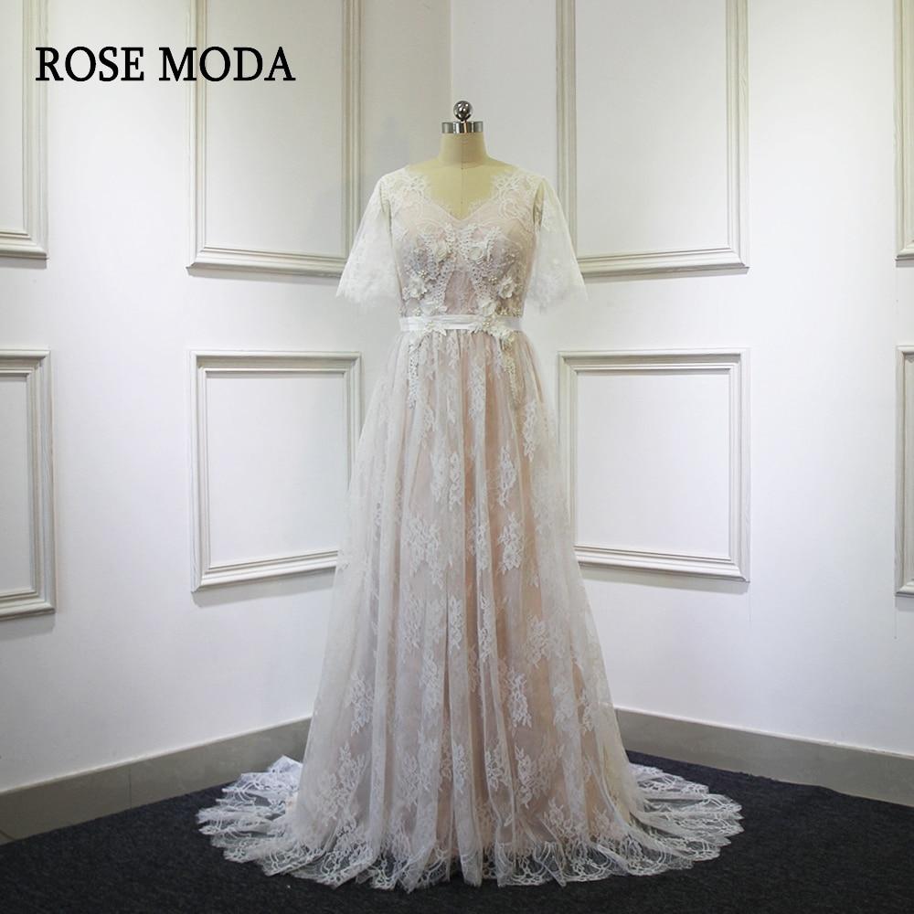 07c06218ef8ef US $249.0 |Rose Moda V Neck Lace Wedding Dress with Short Sleeves Ivory  over Blush Pink Wedding Dresses 2018-in Wedding Dresses from Weddings &  Events ...