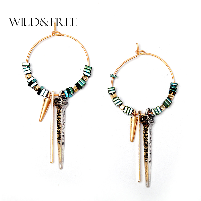 Wild & Free Vintage Women Green Ore Bead Loket Hoop Earrings Tekstur Corak Bentuk Asli Batu Drop Earrings Hadiah Perhiasan