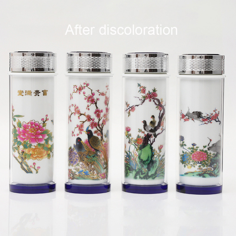 Creative Ceramic Color-changing Vacuum Flasks Mug,Double Liner Tea Cup Fashionable Drinkware Chinese Business Vacuum Flasks Cup