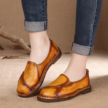 High Quality of Handmade Womens Shoes Comfortable Flat with  Casual Shoes Spring/Autumn Slip-ON Soft Mother Shoes