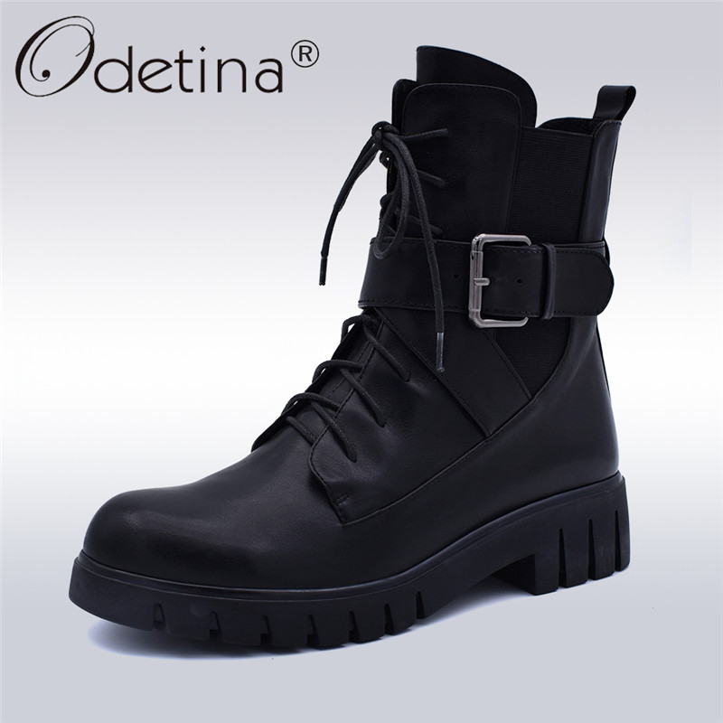 2adffb44fdd Odetina New Fashion Genuine Leather Motorcycle Boots Women Platform Chunky  Heel Lace Up Ankle Boots Side