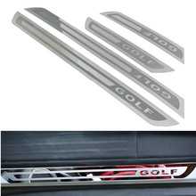 цена на Car Styling Door Sill Scuff Plate Trim Welcome Pedal Protective Cover Sticker For Volkswagen VW Golf 6 MK6 2009-2013 Accessories