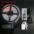 5roll/lot 5050 RGB LED Strip Flexible Light IP68 5M/roll SMD 44 Keys IR Remote Controller 12V 5A Power Adapter Free Shipping