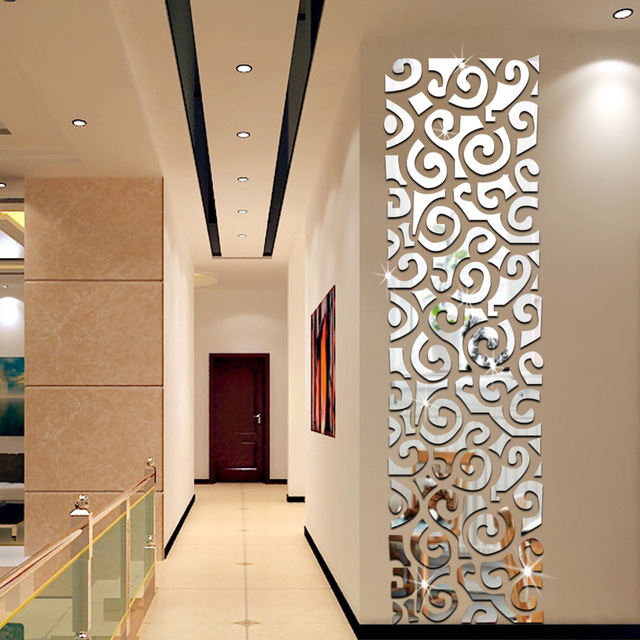 Oversized luxury waist long rectangular wall stickers for Long miroir mural