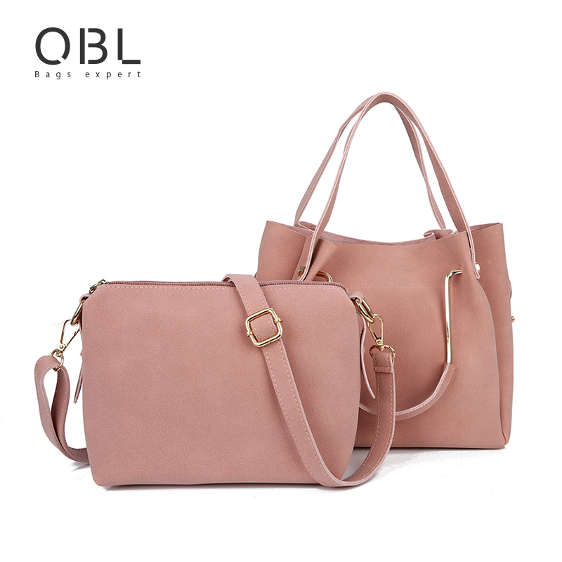 QiBoLu 2pcs Shoulder Bag Women Handbag Tote Messenger Crossbody Ladies Hand Bags Bolsas Feminina Bolsos Mujer Dames Tassen WB29 flower princess crossbody bags for women embroidered nylon shoulder bags schouder tassen dames ladies messenger bolsos mujer