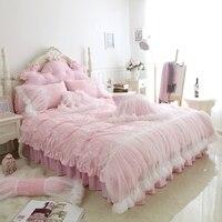 Luxury Pink Green White Purple Fleece Fabric Princess Girl Bedding Set Lace Duvet Cover Flannel Velvet Bed Skirt Pillowcases