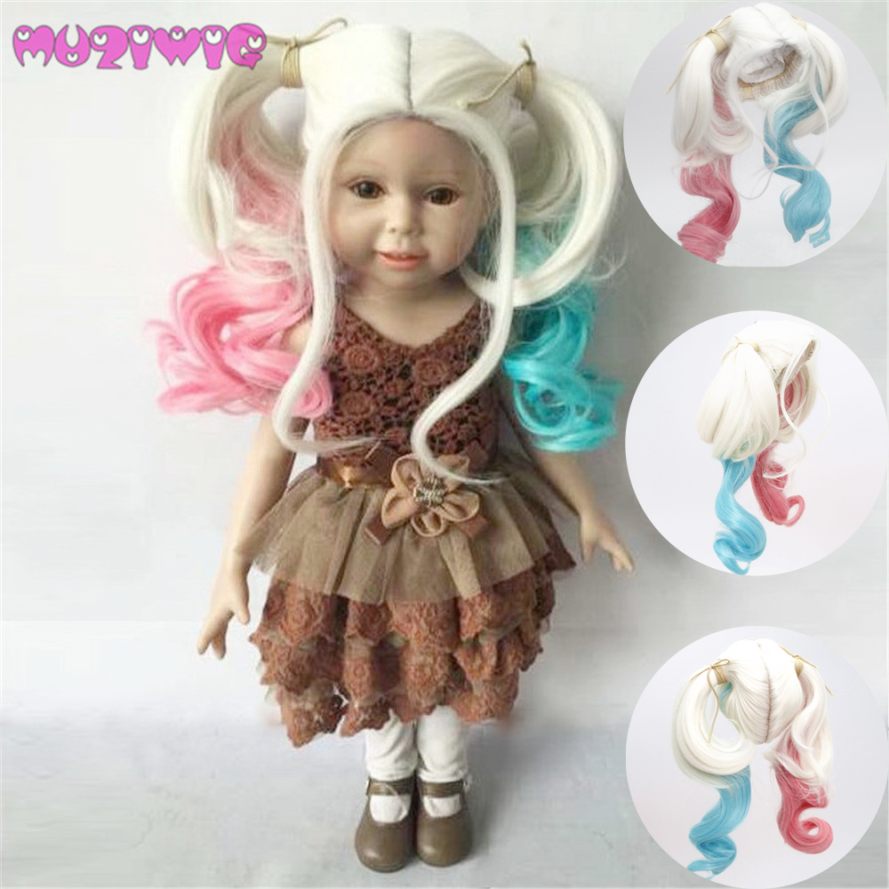 18 Inch Doll Wig Hair Muziwig Long Wave Wigs With Double Ponytail For America Doll Latest Technology