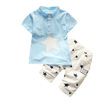 Newborn Baby Boys Star Pattern Clothing Sets Summer
