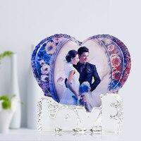מותאם אישית רומנטי קריסטל זכוכית אישית מותאם אישית מסגרת תמונה אהבת מסגרת התמונה DIY מתנות מזכרות חתונה מתנות