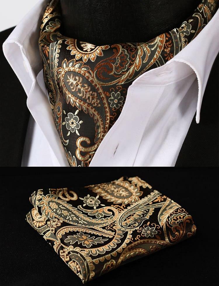 Rf401d Gold Orange Paisley Floral Silk Cravat Woven Ascot