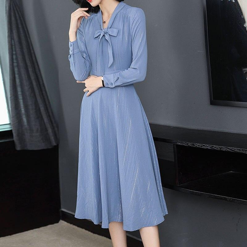 Blue long sleeve dress bow shirt woman winter autumn 2018 slim bodycon elegant robe Tweed retro midi dresses fall 2018 clothes