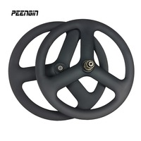20 Inch Carbon 3 Spoke Wheel 451 Carbon Wheels 23mm Width Tri Spoke Wheel 42mm Bicycle