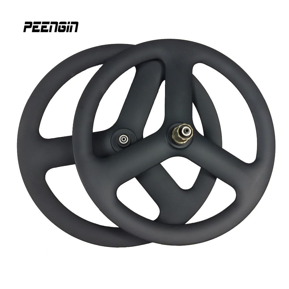 Bricolage 20 pouces carbone V frein/disque 6 boulons 3 rayons 451 carbone roue de route 23mm largeur tri rayons roues voie engrenage fixe 20er roues