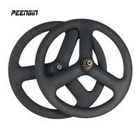 DIY 20 inch carbon V brake/disc 6 bolts 3 spoke 451 carbon road wheel 23mm width tri spoke wheels track fixed gear 20er wheelset