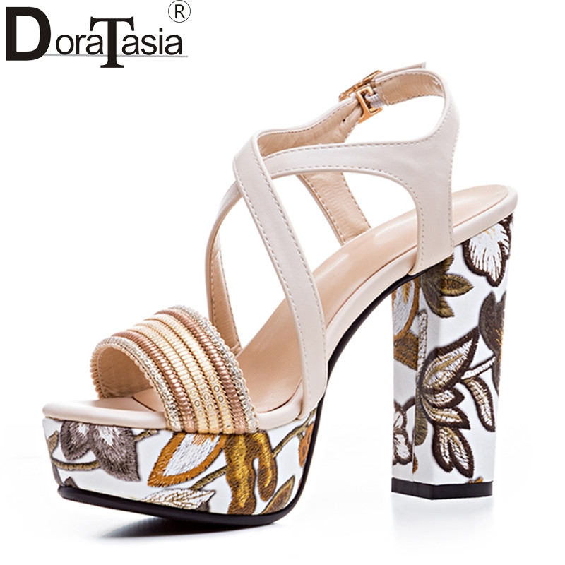DoraTasia Brand Hot Sale 2017 Big Size 33-43 Platform Woman Shoes Sexy Printing High Heeled Party Wedding Sandals Office Lady doratasia denim eourpean style big size 33 43 pointed toe women shoes sexy thin high heel brand design lady pumps party wedding