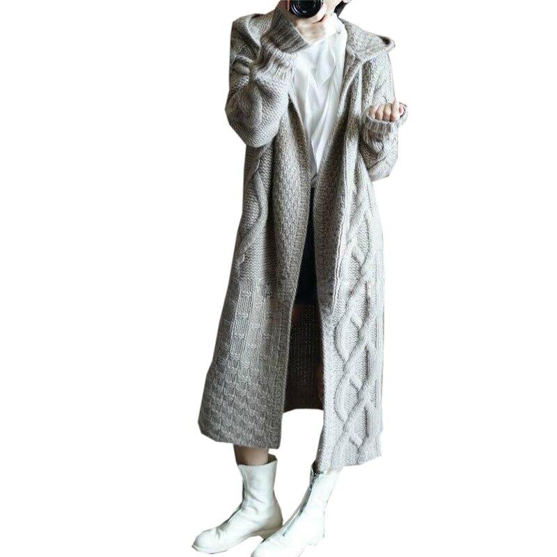 Épais Long Noir Cachemire Fp1336 Capuchon Automne gris Nouveau Solide Couleur Hiver Femmes Chandail Manteau Cardigan À kaki Doux Mode En De QWCorxedB