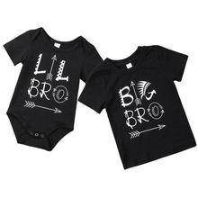 Для новорожденных Одежда для маленьких детей Топы Famliy соответствующий костюм большой брат футболка младший брат боди для мальчиков От 0 до 6 лет
