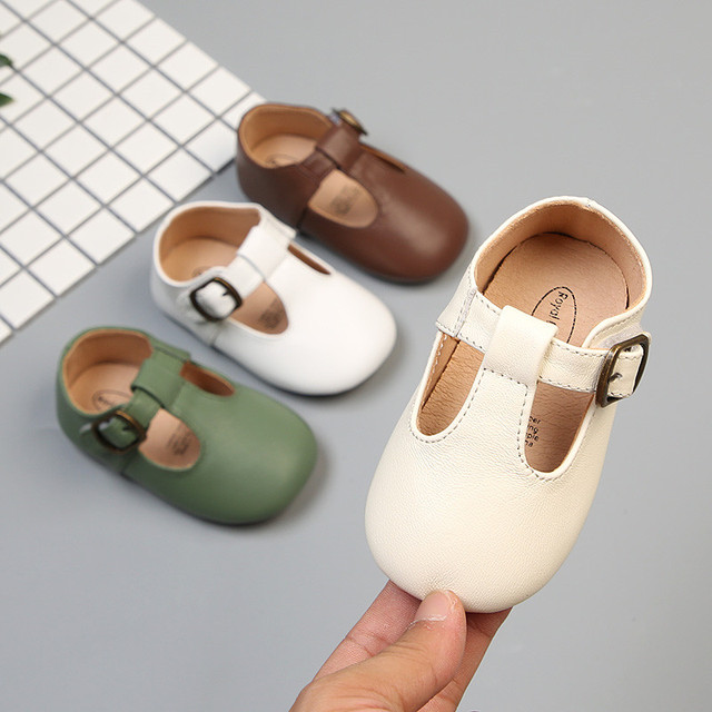New Small size Baby girl shoes Shallow Genuine leather Kids Shoes Toddler Baby Hook & Loop Princess Shoes for party 1 year