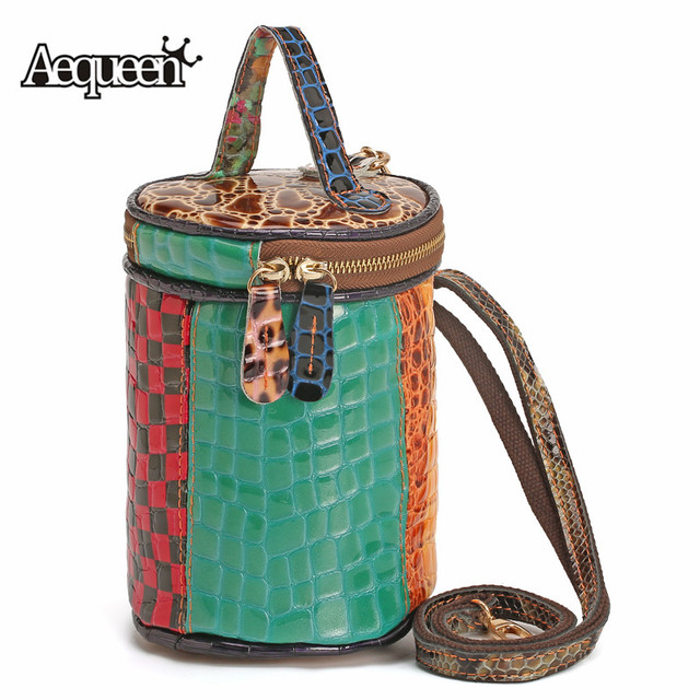 AEQUEEN Genuine Leather Patchwork Bucket Bag Small Vintage Round Crossbody Bags Colorful Handbag Women Shoulder Messenger Bag