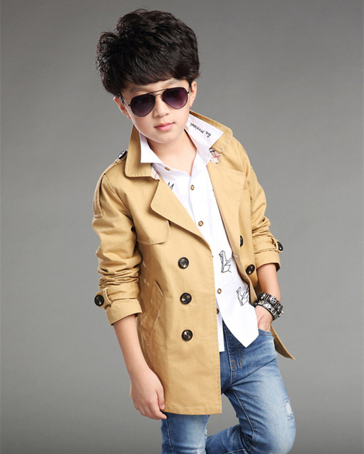 30b51ac02827 3 Colors Autumn Spring Boys Trench Coat Cotton Double breasted Solid ...