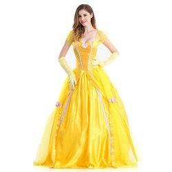 Halloween La Bella y La Bestia disfraces Cosplay adultos bella princesa Vestidos para mujeres Anime fiesta Flor Amarillo vestido largo