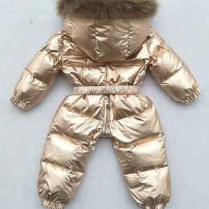 Image 5 -  30 Graden Russische Winter Jongens Meisjes 1 3Y Winter Overalls Baby Rompertjes Eendendons Jumpsuit Real Bontkraag Kinderen Bovenkleding