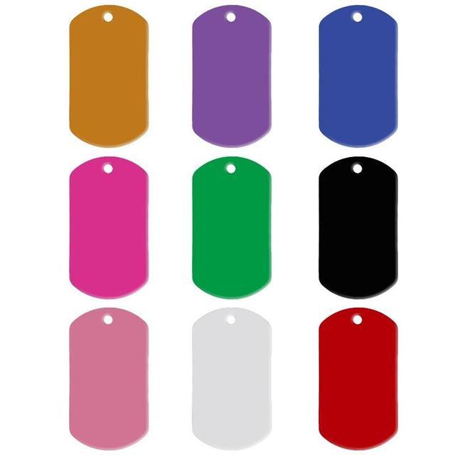 20 pz/lotto di Alluminio Pet ID Tag di Forma Rettangolare Inciso ID del Cane Del