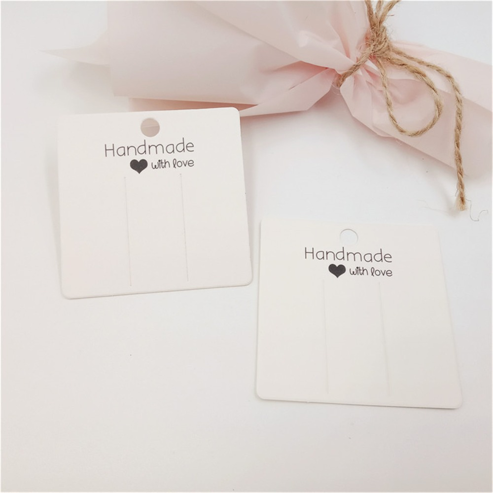 White Color Handmade With Love Hairplip Cards Jewelry Paper Cards Hair Accessory Packaging Displays Cards 6x6cm 50Pcs/Lot