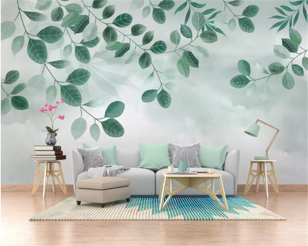 US $8 85 41% OFF|Beibehang Custom wallpaper mural small fresh green leaf  plant watercolor TV background wall papel de parede 3d wallpaper behang-in