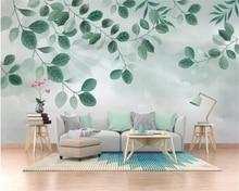 Купить с кэшбэком Beibehang Custom wallpaper mural small fresh green leaf plant watercolor TV background wall papel de parede 3d wallpaper behang