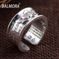 BALMORA 100% Real 999 Pure Silver Jewelry Buddhistic Sutra Classic Rings for Women Lover Anniversary Gifts High Quality SY21596