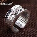 Balmora 100% real 999 joyería de plata pura budista sutra sy21596 clásico anillos para la mujer amante aniversario regalos de alta calidad
