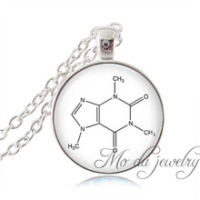 Chemistry Caffeine Molecular Structure Long Necklace Biology Chemistry Gifts Glass Cabochon Necklace Women Jewelry Collier Femme