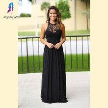 Black Long Lace Bridesmaid Dresses Halter Chiffon Pleats Back Zipper Floor Length Women Maxi Dress For Weddings