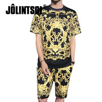 2018 New Fashion Summer Short Sets Men 3D Printing Suits For Men Hip Hop Suit Sets T Shirt +Shorts Tracksuit Plus Size M 5XL