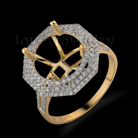 Hot Solid 14Kt Yellow Gold Natural Diamond Setting Ring,Engagement Semi Mount Ring Round 12x12mm For Sale WU045