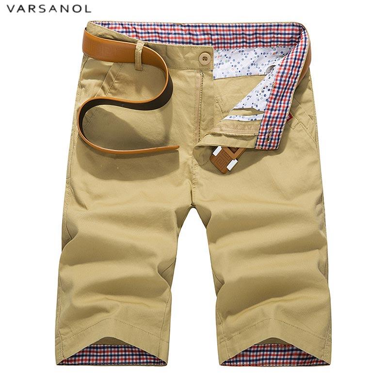 Varsonal Summer Cotton Men's Casual Shorts Fashion Comfortable Men Straight Shorts Khaki Red Short Trousers Size 28-42 No Belt